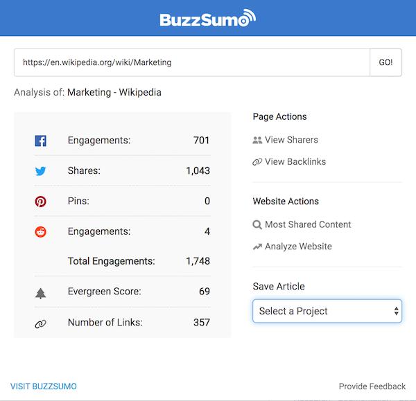 Buzzsumo bir makalenin hangi sosyal ağlarda ne kadar paylaşıldığını gösterir.